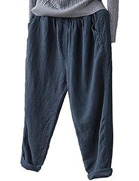 yulinge La Mujer De Algodón Y Pantalones De Lino Tobillo Cintura Elastica Pantalones Plus Size