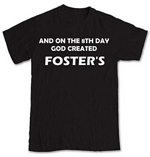 and-on-the-8th-day-god-created-fosters-black-short-sleeve-t-shirt-from-our-unique-t-shirt-range-an-o