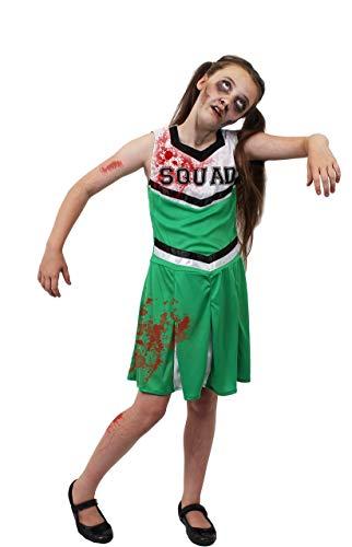 ILOVEFANCYDRESS Kinder Zombie Cheerleader KOSTÜM Verkleidung = GRÜN/WEIßES Kleid = Dieses KOSTÜM Hat DIE Aufschrift = Squad = = BEINHALTET - Kleid + KUNSTBLUT + SCHMINKE=SMALL (Kostüm Cheerleader Zombie Kind)