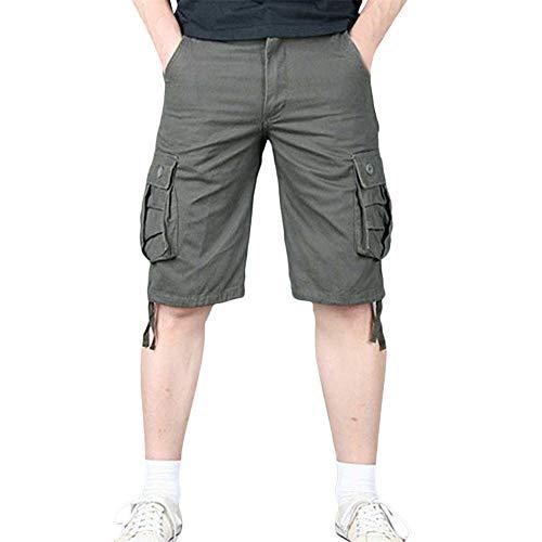 Twill Herren Cargo Pocket Shorts (Aiserkly Herren Sommer Multi-Pocket Overalls Shorts Cargo Kurze Slim Fit Arbeitshose mit Bundfalte Freizeithose Hose)