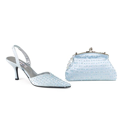 FARFALLA Luxury Matching Shoes and Bag (Light Blue, 7/40)