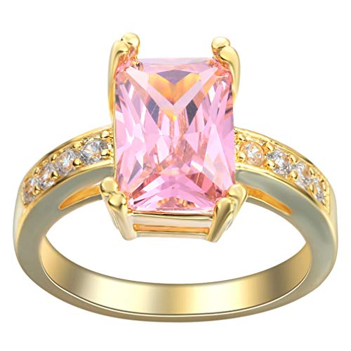 YiyiLai Fashion Fingerring Trauringe Freundschaftsringe Rose Gold Plated Damen Zirkonia Pink 8