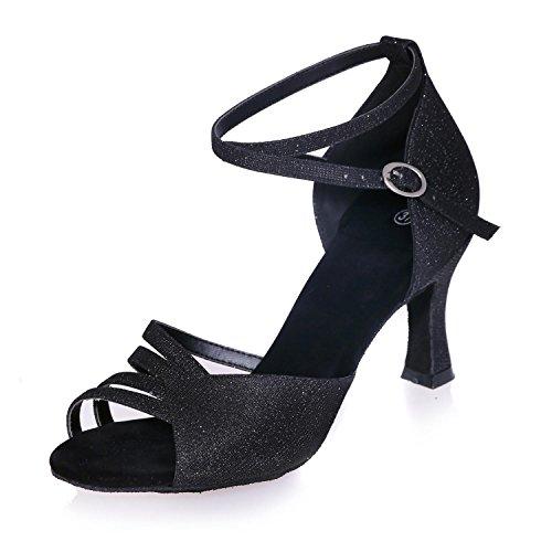 Pattini Da Ballo Delle Donne Di Cuoio Artificiale Latino Con 7.5cm Multi-Colore / 8349-22 Personalizzabile Black
