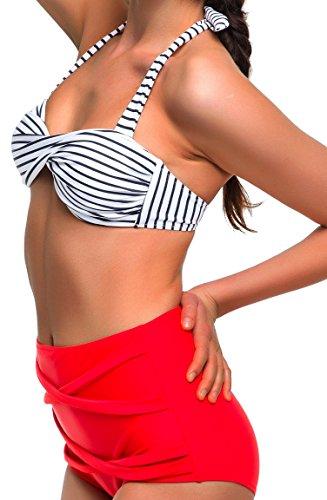 Angerella Damen Retro Stil Bademode Polka-Punkt mit hoher Taille Bikini Set Badeanzug (BKI033-R1-2XL) - 2
