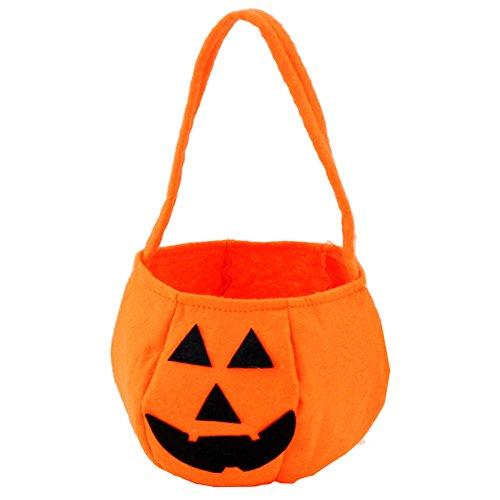 Halloween Betteltasche | Smile Kürbis Tasche | Kids Candy Bag | Kinder Tasche | Stofftaschen Geschenktachen | Subigkeiten Tasche | Trick or Treat Subigkeit Tragetaschen Kinder Kleinkinder (Orange)