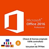 MS Office 2016 Professional Plus 32 bit e 64 bit - Chiave di Licenza Originale per Posta e E-Mail + Guida di TPFNet - Spedizione max. 60min