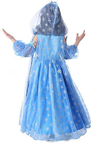 """Costume bambina """"Regina del Ghiaccio Principessa delle Nevi"""" con mantello – 3  pezzi – Blu - Tg. 120 (110-116) 81d62d1259e"""