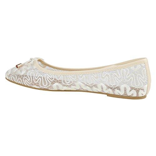 Stiefelparadies Klassische Damen Ballerinas Slippers Flats Übergrößen Flache Schuhe Metallic Spitze Glitzer Abendschuhe Flandell Creme Schleifen