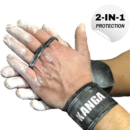 KANGA 2-IN-1 Premium CrossFit Griffe- Handgelenkstütze und Handballenschutz kombiniert - Nachweislich als äußerst effektiv bei Gymnastik, Freiübungen und Crossfit zu sein