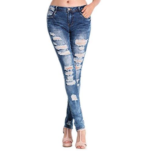 Hffan Trendy Zerrissene Jeans Jeanshosen Dehnbar Bleistift Hosen Skinny Denim Volltonfarbe Jegging Slim Fit Hose Jeans Mit LöChern GüNstige Jeans Zum Damen Teen MäDchen (M)