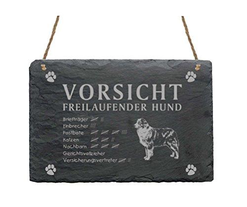 Schiefertafel « AUSTRALIAN SHEPHERD - VORSICHT FREILAUFENDER HUND » Größe ca. 22 x 16 cm - Schild mit Hunde Motiv - Türschild Garten Terrasse - Aussie -