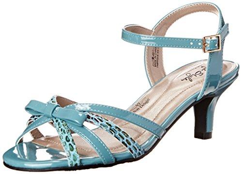 Soft Style von Hush Puppies Mae Kleid Sandale Soft Blue Patent Polyurethane/Marble Snake Fabric