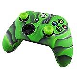 Pandaren® Silikon hülle skin Schutzhülle für Xbox One controller (Tarnung grün) x 1 + thumb grip aufsätze x 2