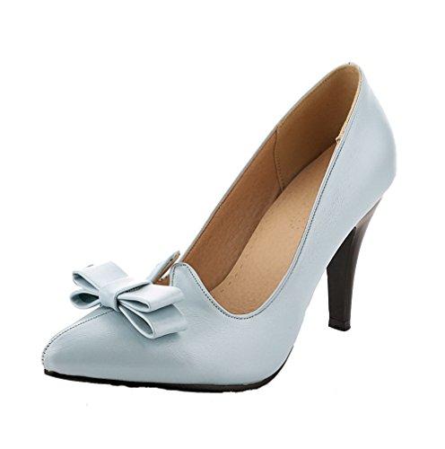AgooLar Femme Tire à Talon Haut Pu Cuir Pointu Couleur Unie Chaussures Légeres Azur