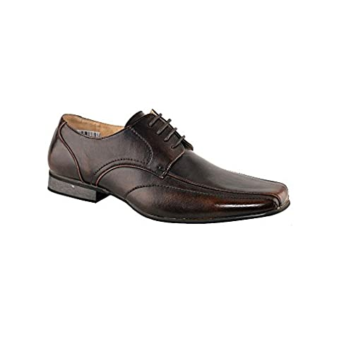 Mens Leather Lined Tramline Gibson Smart Lace Up Oxford Formal Shoes Size 6-12 - Brown - UK 10