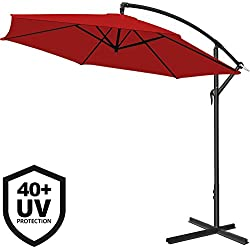 Parasol en aluminium Rouge Ø 300cm Protection UV 40 Manivelle Jardin terrasse