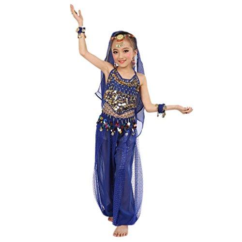 Fasching Mädchen Kostüm, FNKDOR Tüll Kleid Ägypten Bauchtänzerin Pailletten Karneval (Höhe: 120-134CM, - Indischer Tanz Kostüm Bilder