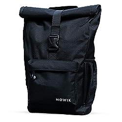 NOWIK Rucksack Damen & Herren ✔ Hochwertiger Roll Top Tagesrucksack ✔ Lässiger Tagesrucksack für Den Alltag ✔ Wasserabweisend, Flexibel mit vielen Features