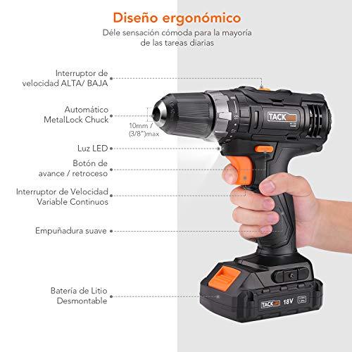 Tacklife PCD06C 18V, 19+1 Ajuste de Par, 2 Velocidades de Par Máximo, 1 x Baterías de Litio Lon (2.0Ah),  30N.m, 10mm Portabrocas Automatico,  Diseño Ergonómico- Regalo de acción de gracias