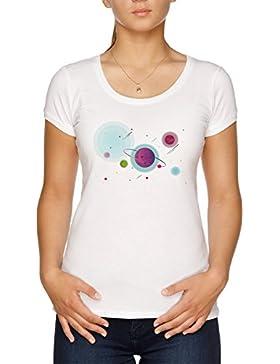 Vendax Misterioso Estrellado Cielo Camiseta Mujer Blanco