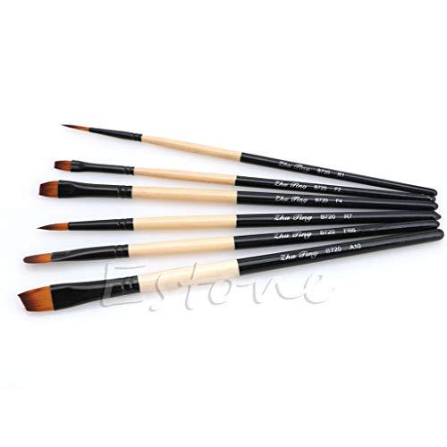 XTYaa - Set di 6 pennelli piatti in nylon, per pittura a olio e pittura acrilica