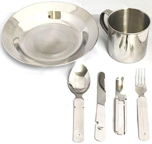 Camping Edelstahl Geschirrset Besteck + Teller + Tasse