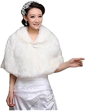 Fiona - Chaqueta bolero / torera / capa / chal / estola de pelo de imitación para novia, para el invierno