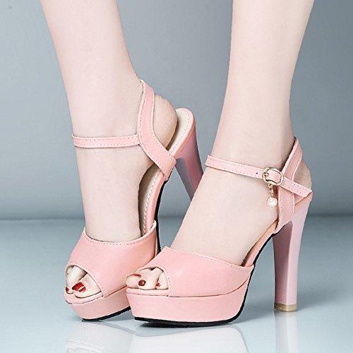 COOLCEPT Femmes Mode Sangle de Cheville Sandales Peep Toe Singback Plateforme Conique Chaussures Rose