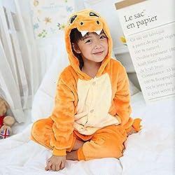 CCYK Kigurumi Pyjamas Charmander Pokemon Dinosaure Enfants Bébés Filles Pyjamas Garçon De Nuit Animal De Dessins Animés Onesie Costume Enfants Jumpsuit, Orange, 8T