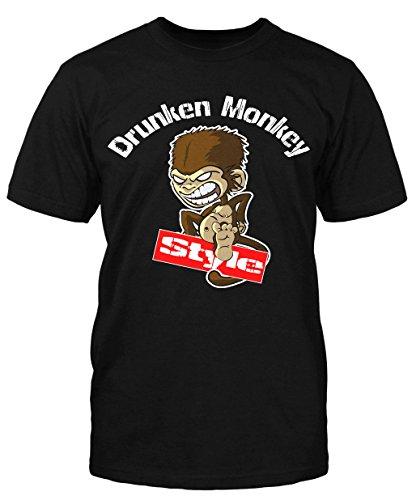 Drunken Monkey Style T-Shirt Fun Shirt Kult MMA Muay Thai Boxen Fight Herrentag Schwarz