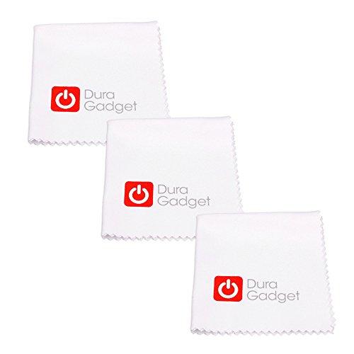 DURAGADGET Dreierpack Tuch Mikrofaser Waschbar Weiß 15 x 15 cm für Polaroid Sofortbildkameras & Fotopapier/Zip Mobildrucker