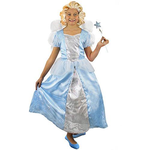 Märchen Blauer Kostüm Himmel - Zeichentrick FEE KOSTÜM VERKLEIDUNG =Kinder DER GOLDENE Schuh -IN 4 VERSCHIEDENEN GRÖSSEN=EIN Himmel BLAUES Kleid MIT VIELEN Details + EINEM ZAUBERSTAB + FLÜGELN =TOLLES Kinder KOSTÜM=MEDIUM