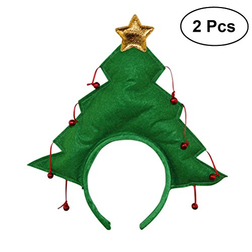 OULII Weihnachtsbaum mit Stern-Partei-Stirnband-Neuheit-Haar-Band für Kind-Weihnachtsabendkleid-Kostüm-Zusatz 2pcs
