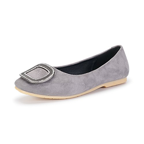 Ochenta Ladies Ballerine Flat Leisure Monochrome Con Bottone Quadrato Grigio