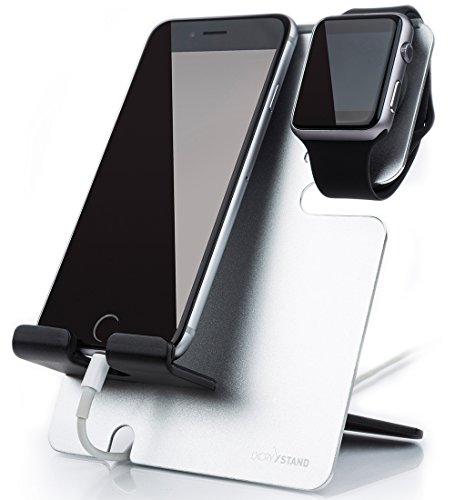 LXORY XStand Apple Watch Stand Und iPhone Dockingstation Alu Für Alle iWatch und Smartphone Modelle – Universal Ladestation Für Zuhause, Büro Und Unterwegs (Silber-Schwarz)