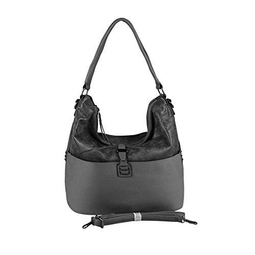 OBC Only-Beautiful-Couture, Borsa tote donna nero Schwarz-Silber 35x29x13 cm xxl Dunkelgrau 38x30x15 cm