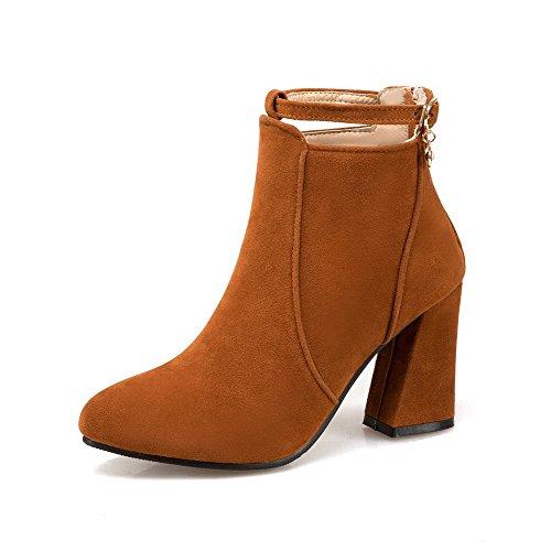 Voguezone009 Femmes En Plastique À Glissière Chaussures Pointues Bottes À Talons Hauts Jaune