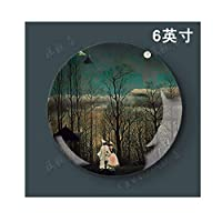 Dwthh 1pcs 6Inch Diary Jungle Landscape Painting Decorative Porcelain Plate European Style Hanging Plate Ceramic Plate