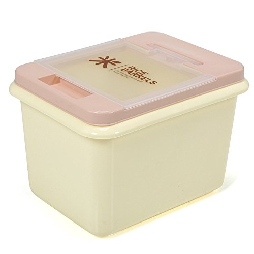Wuudia - Recipiente de almacenamiento de arroz de plástico, rectangular, dispensador de caja de almacenamiento de arroz para el hogar, plástico, rosa, 29 * 20 * 22cm