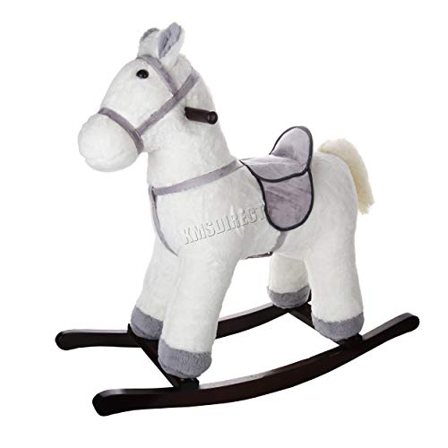 FoxHunter Children's Cream Rocking Horse   NEW Rocking Chair Toy For Kids   Ride On Pony Toy   Wooden Plush Rocker Gift   Traditional Vintage Kids Soft Toys   Toddler Rocker - 1-3 Years