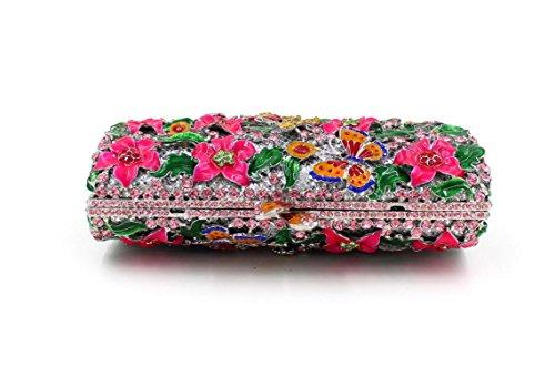Damen Abendtasche Wasser-Diamant-Intarsien Schmetterling voller Diamant-Diamant-Wallet-Braut-Beutel-beweglicher Partei-Beutel color 2