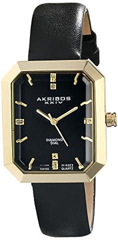 Akribos XXIV Femme Lady Diamond Affichage analogique Swiss Quartz Noir Montre