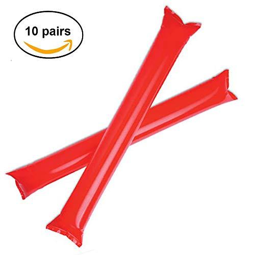Fun Fan Line - Packung mit 20 Stück Bam Bam inflatable stick set für fußball party, musikparty, Geburtstagsfeier. krachmacher spiel beifall luftballons. (10 Paare, Farbe Rot)