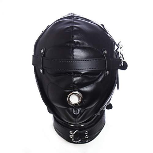 CANAREA Kopfmaske Augenmaske Harness Kopgeschirre sex sm Leder Erotik Bondage Fetisch Sex Spielzeug Cosplay Rollenspiel bettfesseln Kostüm mit Mundöffnung Für Anfänger Paare Augenmaske Maske (Schwarz)