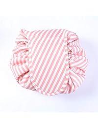 Lazy Makeup Bag, Travel Toiletry Organizer, Large Capacity Waterproof Stripe Drawstring Cosmetic Storage for Women