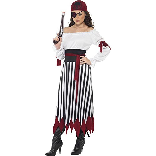 Piraten-Lady Kostüm Kleid mit Armbinden Gürtel und Kopftuch, Medium (Piraten Dressing Up)