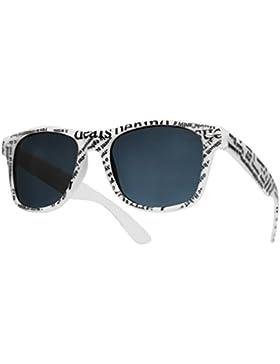 Wayfarer, Nerd gafas o gafas de sol lente transparente, negro–C, mujer hombre, newspaper white sunglasses, universal
