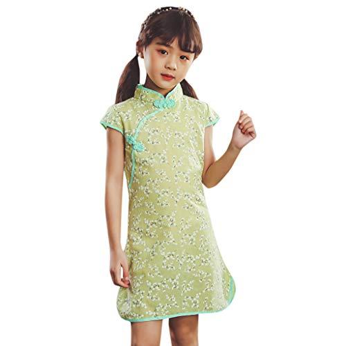 Livoral Mädchen Party Prinzessin Kleid Kleinkind Baby Kinder Cheongsam Blumenkleid(Grün-1,130)