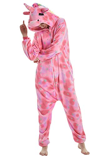 "Dolamen Adulto Unisex Kigurumi Pigiama Onesie, Donna Uomo Anime Cosplay Halloween Natale Party Costume Attrezzatura Sleepwear (Medium (61""-65""), Pinkstar)"