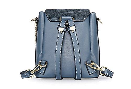 Pelle XinMaoYuan piccolo zaino zaino obliquo multiuso pacchetto Ladies Vacchetta Messenger spalla tonda Bg,grigio chiaro Blue